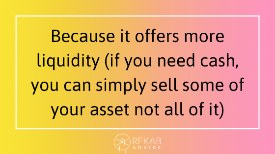 Because it offers more liquidity (if you need cash, you can simply sell some of your asset not all of it)